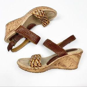 BOC Faux Leather Cork Woven Wedges